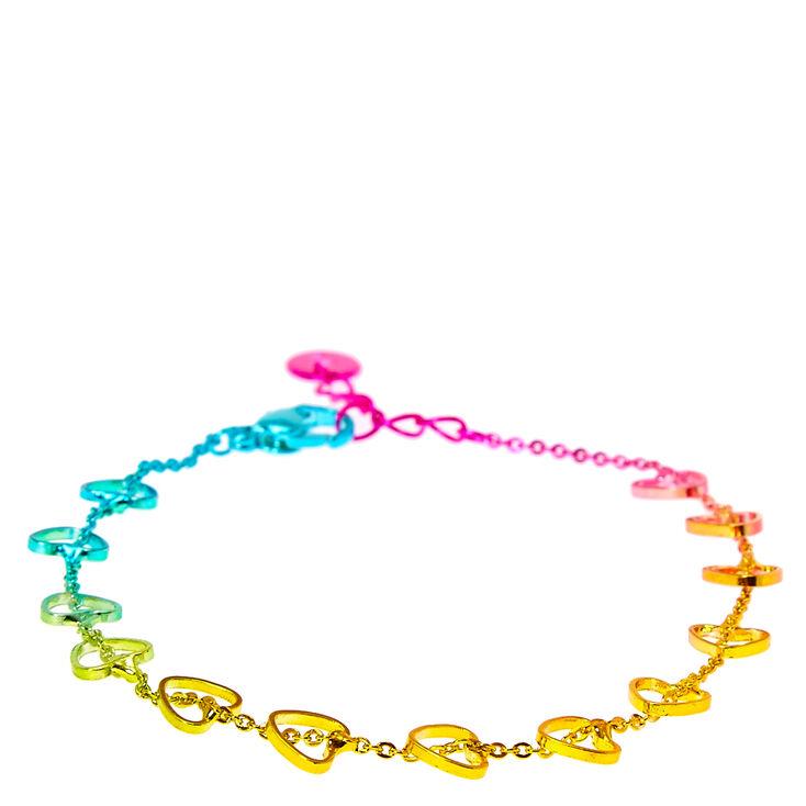 Bracelet métallique coeurs découpés arc-en-ciel,