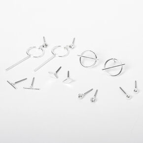 Silver Delicate Geometric Stud Earring Set - 6 Pack,