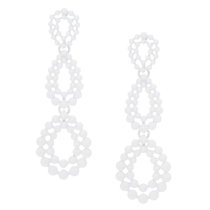 """3"""" Filigree Teardrop Drop Earrings - White,"""