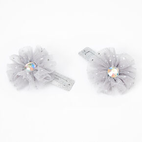 Claire's Club Glitter Tulle Flower Hair Clips - 2 Pack, Gray,