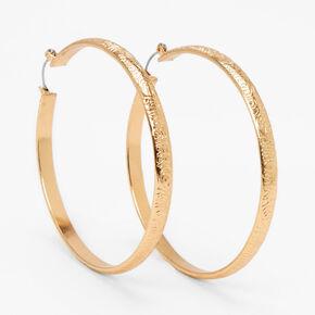 Gold 60MM Swirl Embossed Hoop Earrings,