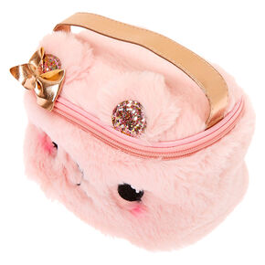 Claire's Club Plush Bear Makeup Bag - Pink,