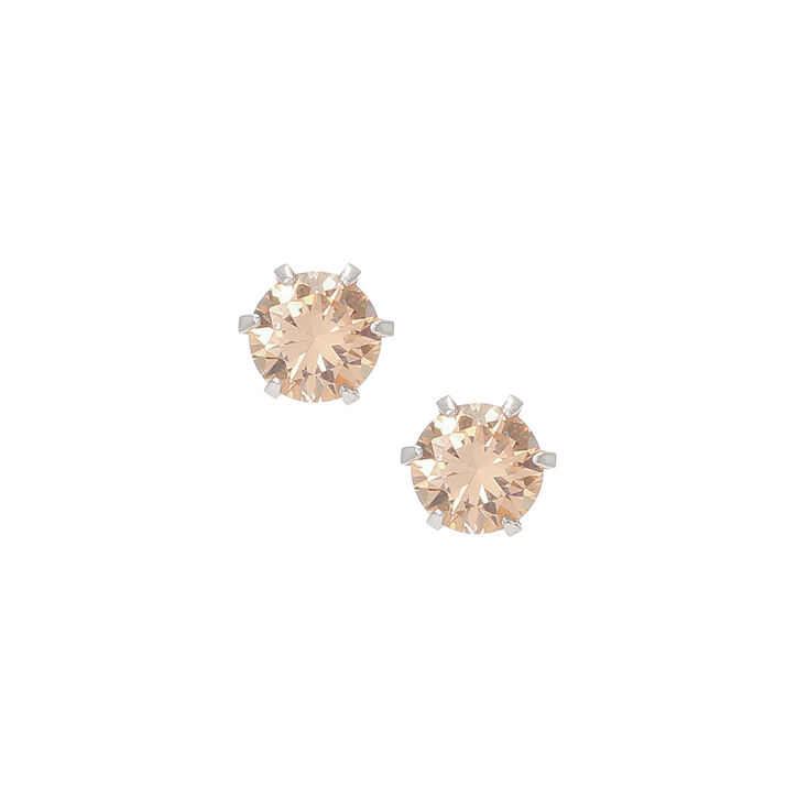 Champagne Sterling Silver 6mm Cubic Zirconia Stud Earrings