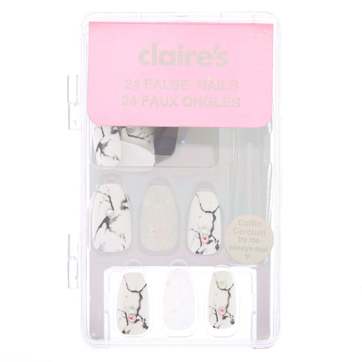 Marble Gem Coffin Faux Nail Set - White, 24 Pack,