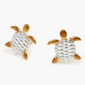 Sterling Silver & Gold Turtle Stud Earrings,
