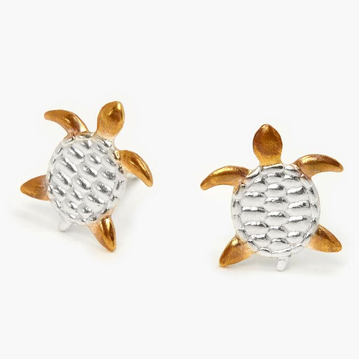 Sterling Silver & Gold Turtle Stud Earrings,