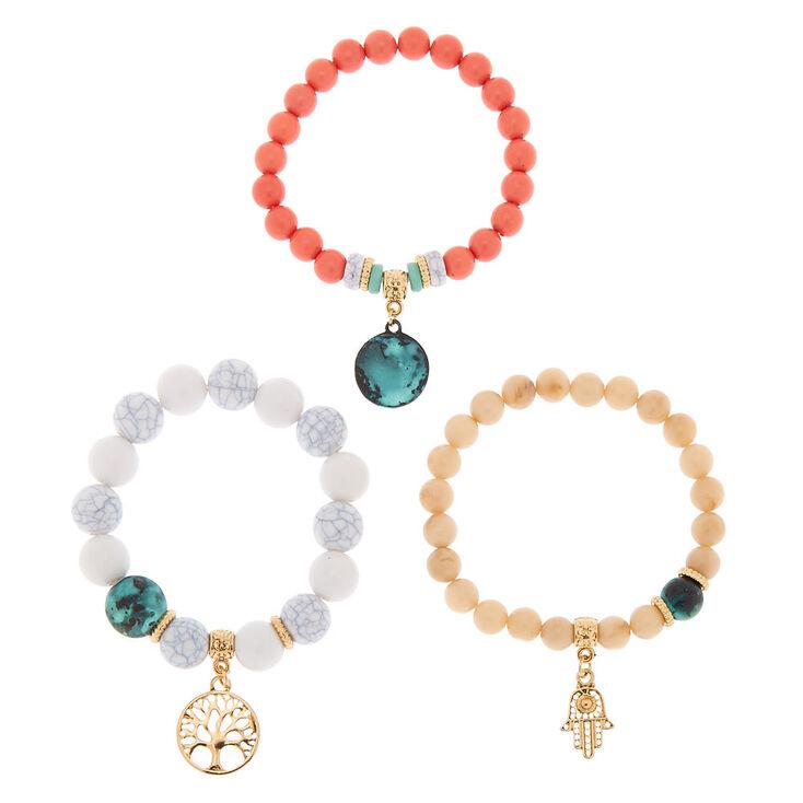 Gold Hamsa Tree Beaded Stretch Bracelets - 3 Pack,