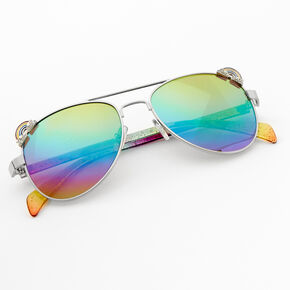 Claire's Club Rainbow Glitter Aviator Sunglasses,