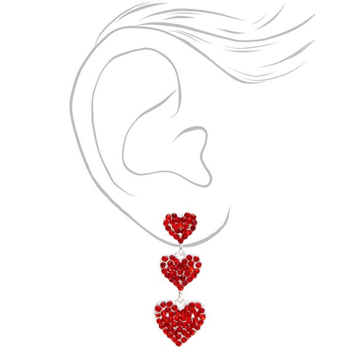 Silver Triple Hearts Red Crystal Drop Earrings,