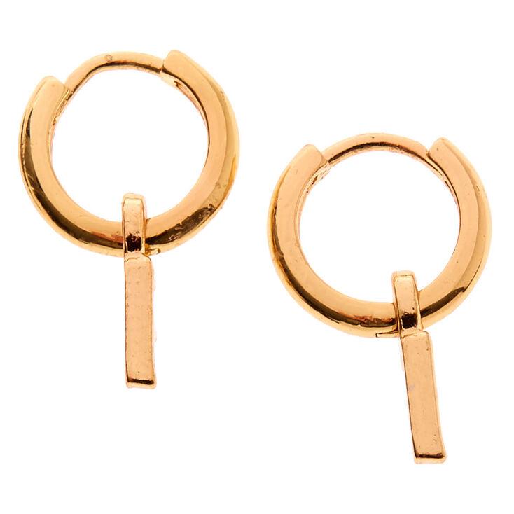Gold 10MM Initial Huggie Hoop Earrings - F,