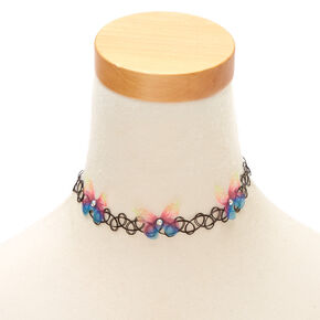 Rainbow Butterfly Tattoo Choker Necklace,