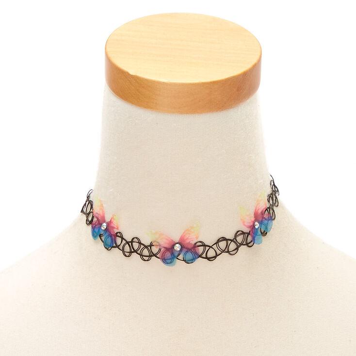 Rainbow Butterfly Tattoo Choker Necklace,