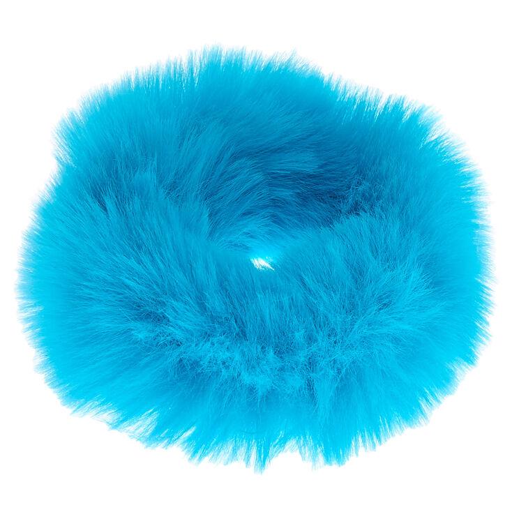 Chouchou en fausse fourrure - Bleu fluo,