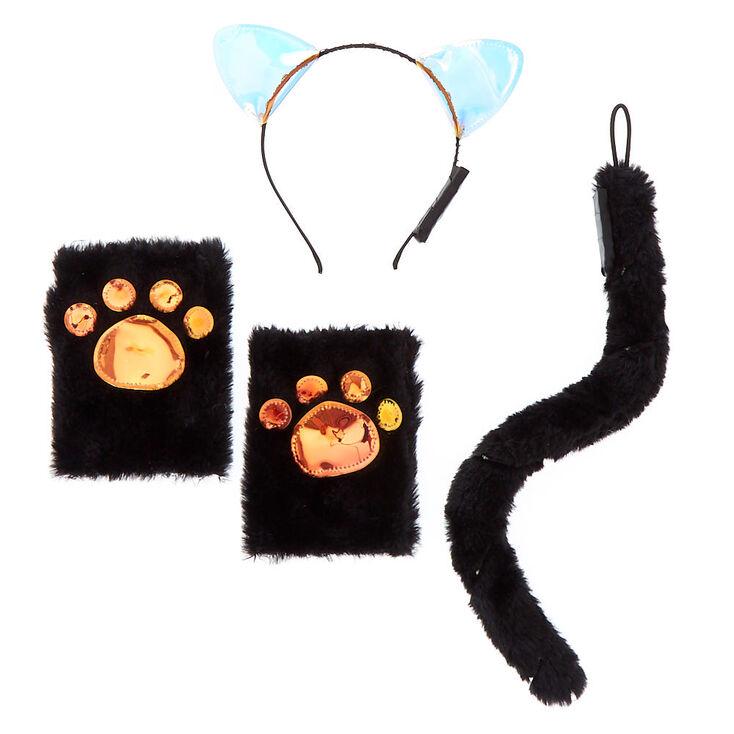 Furry Holographic Cat Costume Set - Black, 3 Pack,