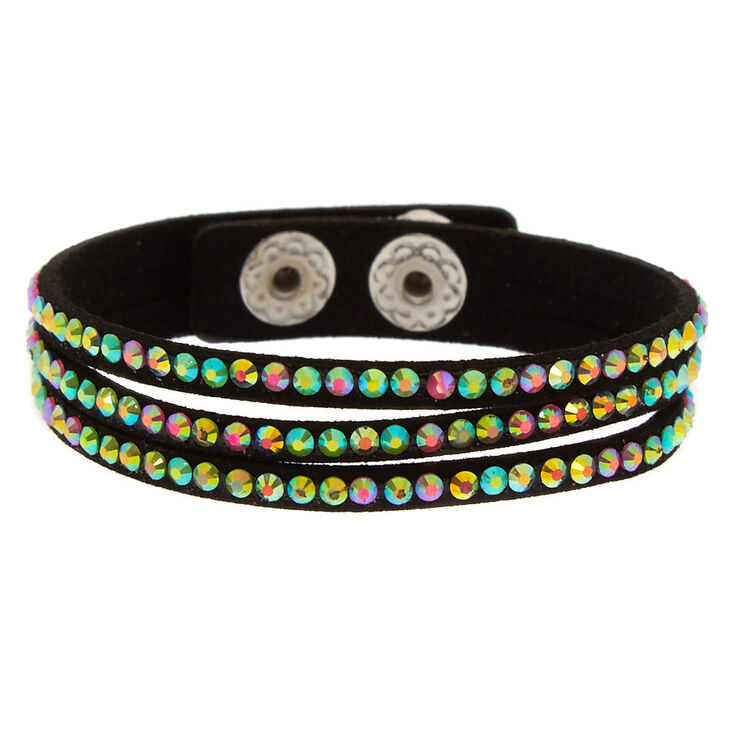 Black Faux Suede Studded Bracelet,