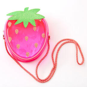 Claire's Club Transparent Strawberry Crossbody Bag - Pink,