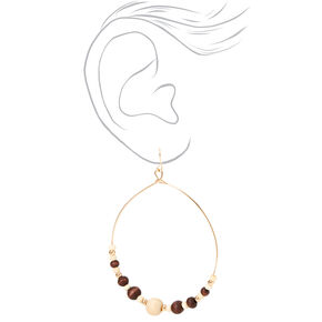 "Gold 3"" Wooden Beaded Hoop Drop Earrings,"
