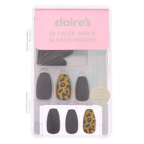 Glitter & Matte Leopard Coffin Faux Nail Set - Gold, 24 Pack,