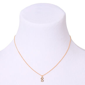 Gold Striped Initial Pendant Necklace - S,