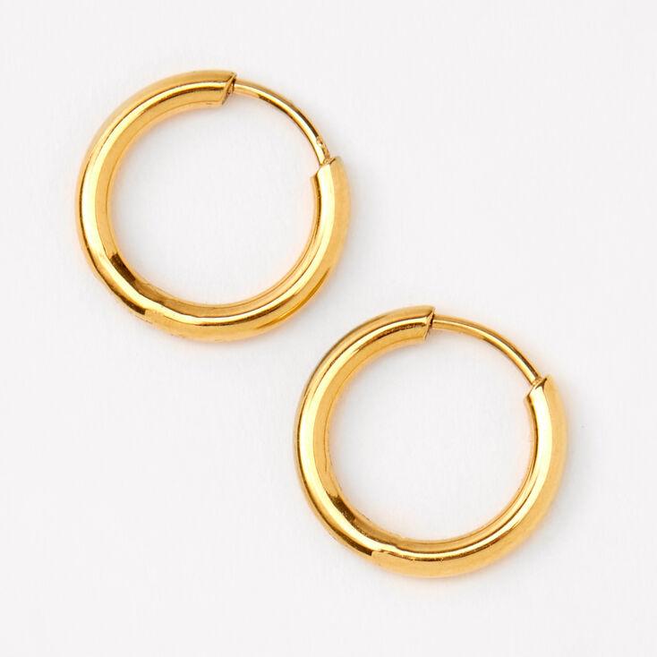 Gold Titanium 10MM Tube Hoop Earrings,