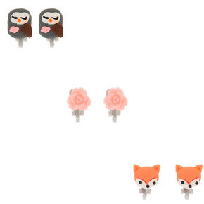 Owl, Fox, & Rose Clip On Earrings - 3 Pack,