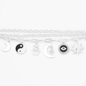 Silver Yin Yang Tassel Charm Bracelet - Black,