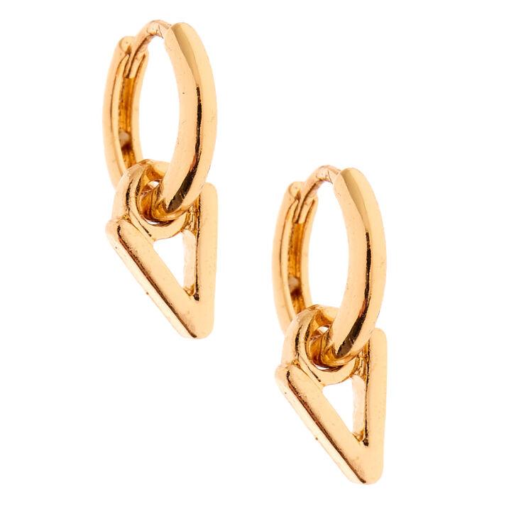 Gold 10MM Initial Huggie Hoop Earrings - V,