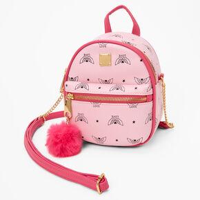 Wings of Love Mini Backpack Crossbody Bag - Pink,