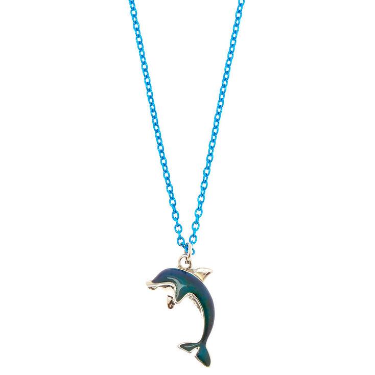 Blue dolphin mood pendant necklace claires blue dolphin mood pendant necklace aloadofball Gallery