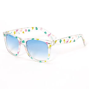 Retro Transparent Tropical Icon Sunglasses - Clear,