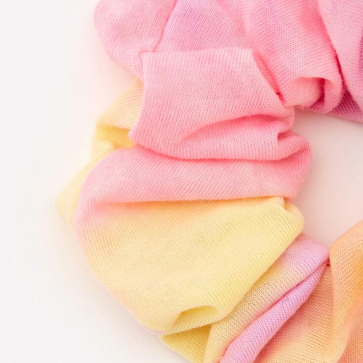 Medium Pink & Yellow Tie Dye Hair Scrunchie,