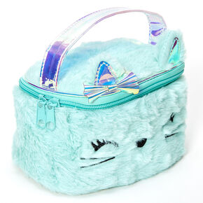 Claire's Club Plush Kitty Makeup Bag - Mint,