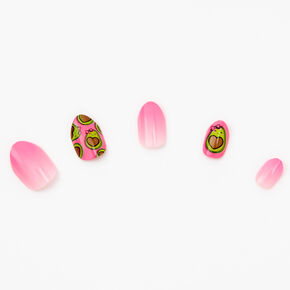 Pink Ombre Avocado Stiletto Press On Faux Nail Set - 24 Pack,