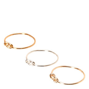 Mixed Metal Knotted Ring Set - 3 Pack,