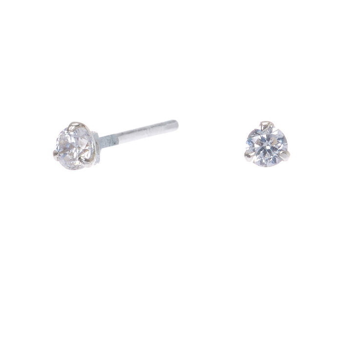 Sterling Silver Cubic Zirconia 2MM Round Martini Stud Earrings,