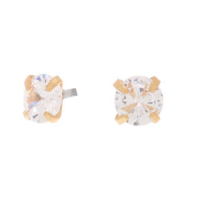 Gold Cubic Zirconia Round Martini Stud Earrings - 6MM,