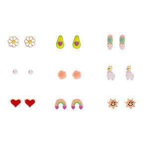 Happy Rainbows & Flowers Stud Earrings - 9 Pack,