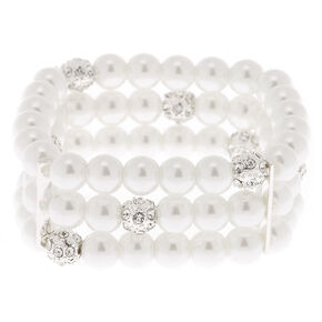 Bracelet élastique multi-rangs avec perles d'imitation couleur argenté,