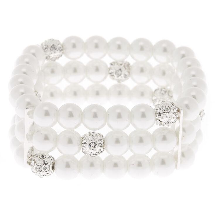 Silver Pearl Layered Stretch Bracelet,