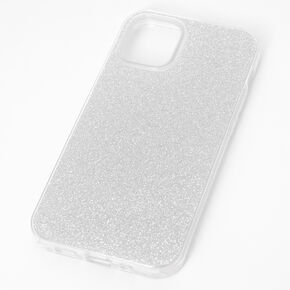 Silver Glitter Protective Phone Case - Fits iPhone 12 Mini,