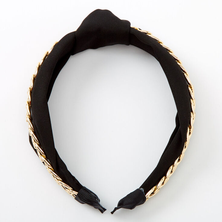 Gold Chain Knotted Headband - Black,