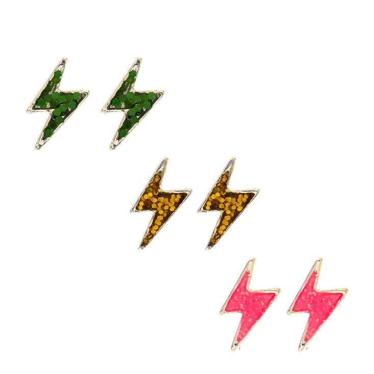 3 Pack Glitter Lightning Stud Earrings,