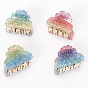 Rainbow Glitter Mini Hair Claws - 4 Pack,