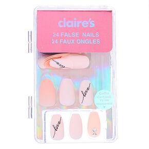 Faux ongles ballerine Love bling bling - Nude, lot de 24,
