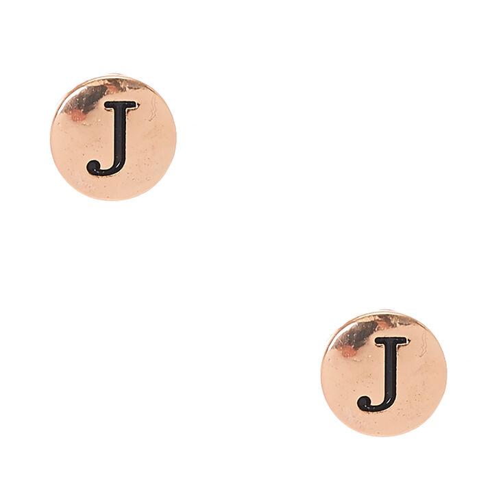 Gold Tone Initial J Stud Earrings