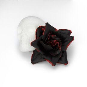 Day Of The Dead Skull & Rose Flower Hair Clip - Black,