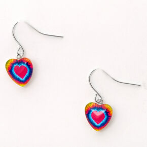 "Silver 0.5"" Neon Tie Dye Heart Drop Earrings,"