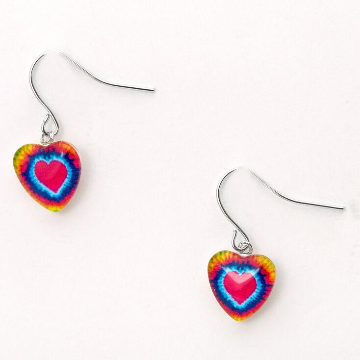 """Silver 0.5"""" Neon Tie Dye Heart Drop Earrings,"""