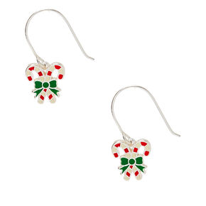 "Sterling Silver 0.5"" Candy Cane Drop Earrings,"