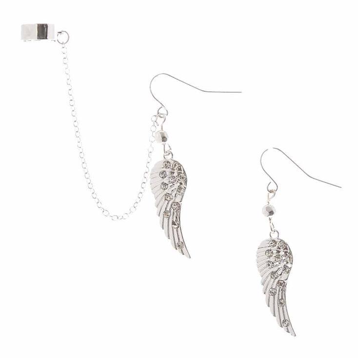 Silver Crystal Wing Ear Cuff & Drop Earrings Set,